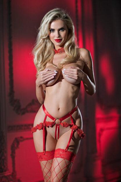 Anastasia Beaded Lace Set - Red