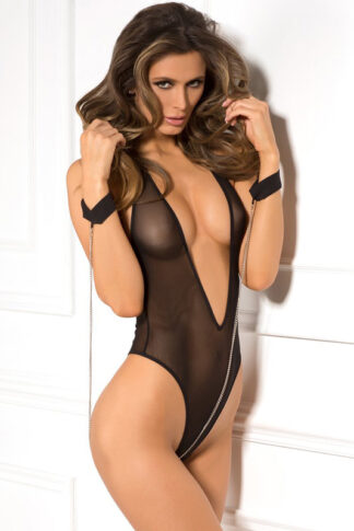 2pc Mesh Teddy with Cuff & Chain Set - Black