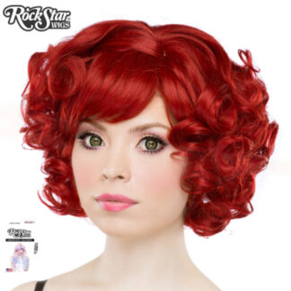 Gothic Lolita Wigs Curly Bob - Crimson Red 2