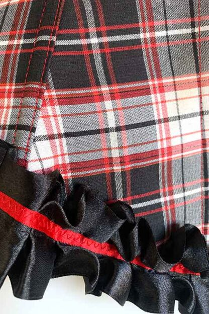 Red & Black Checkered Corset Front Close