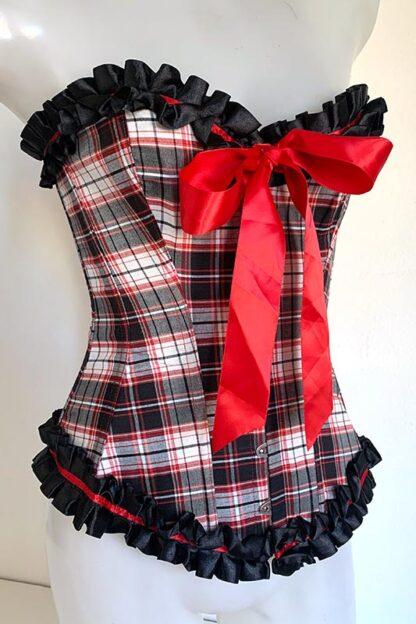 Red & Black Checkered Corset Front
