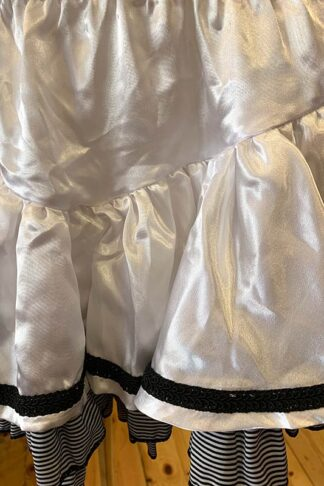 Satin & Stripe Petticoat Skirt White Close