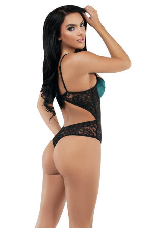Satin like Bodysuit - Jade & Black Back