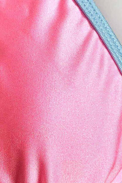 Siren Doll Small Cup Bikini Set - Barbie Pink & Baby Blue Close