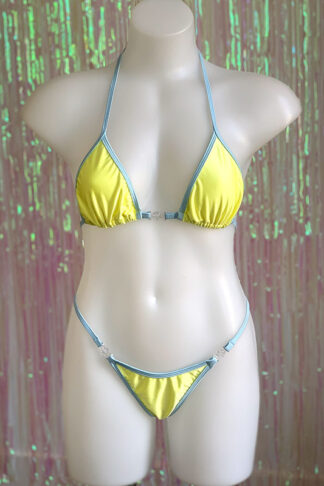 Siren Doll Small Cup Bikini Set - Lemon & Baby Blue Front