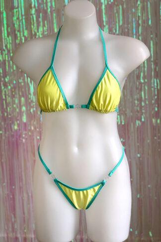 Siren Doll Small Cup Bikini Set - Lemon & Mint Green Front