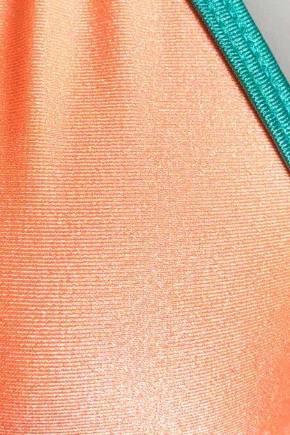 Siren Doll Small Cup Bikini Set - Peach & Mint Green Close