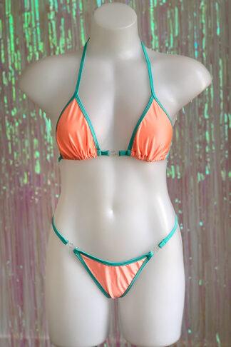 Siren Doll Small Cup Bikini Set - Peach & Mint Green Front