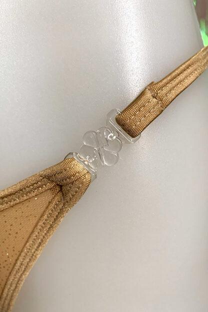 Siren Doll Small Cup Bikini Set - Sheer Beige with Gold Glitter Clip