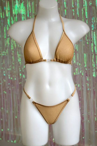 Siren Doll Small Cup Bikini Set - Sheer Beige with Gold Glitter Front