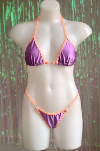 Siren Doll Small Cup Bikini Set - Lavender & Soft Orange