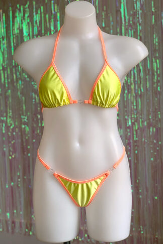 Siren Doll Small Cup Bikini Set - Lemon & Soft Orange
