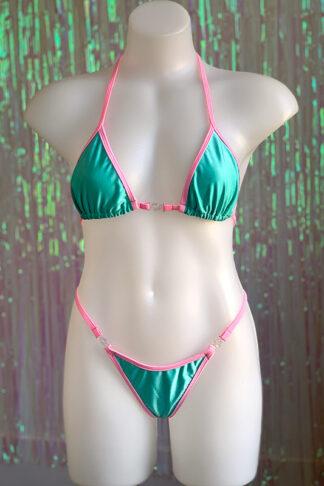 Siren Doll Small Cup Bikini Set - Mint Green & Barbie Pink