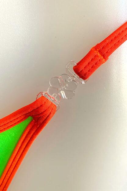 Siren Doll Small Cup Bikini Set - Neon Green & Neon Orange Clip