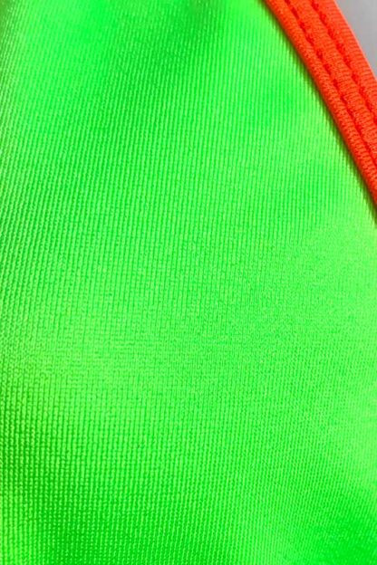 Siren Doll Small Cup Bikini Set - Neon Green & Neon Orange Close