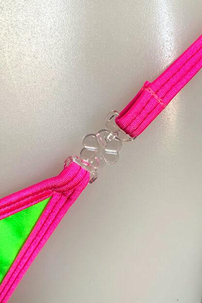 Siren Doll Small Cup Bikini Set - Neon Green & Neon Pink Clip