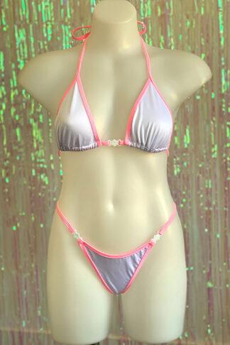 Siren Doll Small Cup Bikini Set - White & Barbie Pink Front