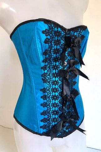 Turquoise Satin Bow Corset Front