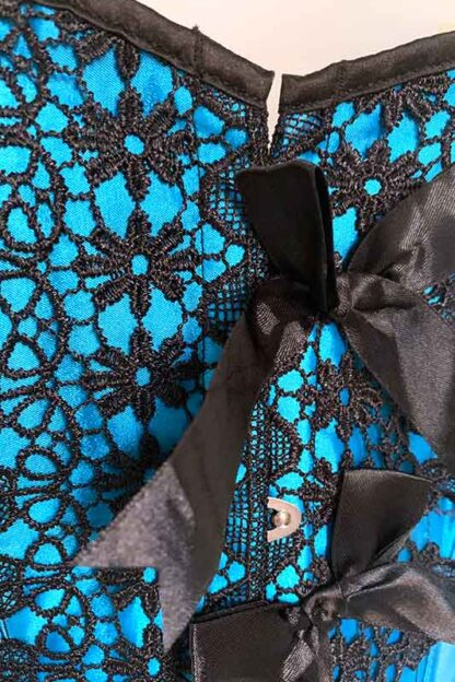 Turquoise Satin Bow Corset Front Close