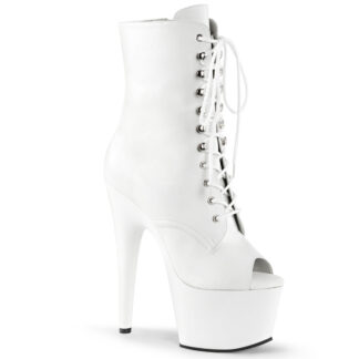 "Pleaser 7"" Adore 1021 Ankle Boot - Matte White Front Main"