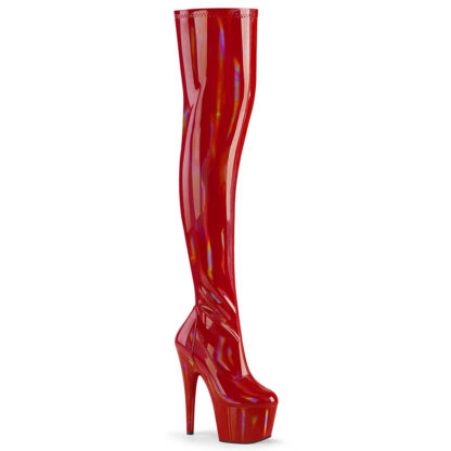 "Pleaser 7"" Adore 3000 Thigh High Boot - Hologram Patent Red"