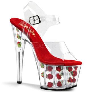 """Pleaser 7"""" Adore 708FL Sandal Red Rose Inserts in Platform"""
