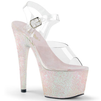 "Pleaser 7"" Adore 708HMG Sandal Holographic Multi Glitter Opal"