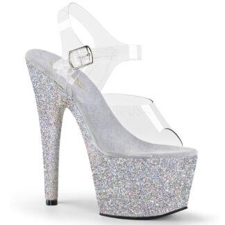 """Pleaser 7"""" Adore 708HMG Sandal Holographic Multi Glitter Silver"""