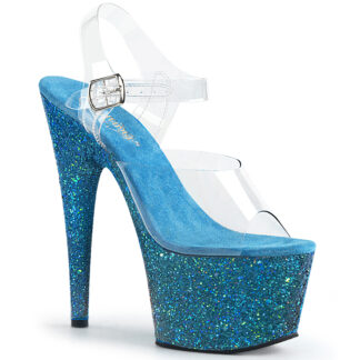 "Pleaser 7"" Adore 708LG Sandal Hologram Large Glitter Aqua"
