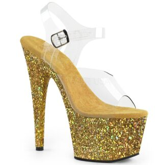 "Pleaser 7"" Adore 708LG Sandal Hologram Large Glitter Gold"