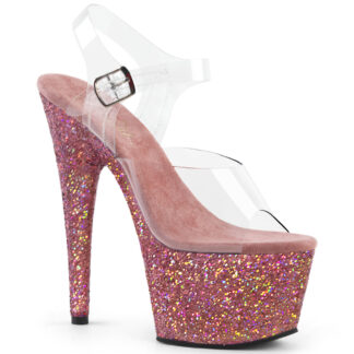 "Pleaser 7"" Adore 708LG Sandal Holographic Large Glitter Pink"