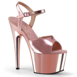 """Pleaser 7"""" Adore 709 Sandal Chrome Rose Gold"""