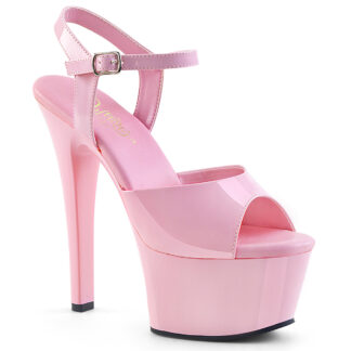 "Pleaser 6"" Aspire 609 Sandal - Patent Baby Pink"