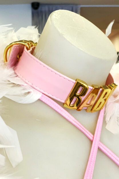 BABY Gold Letter Choker - Baby Pink Belt Side