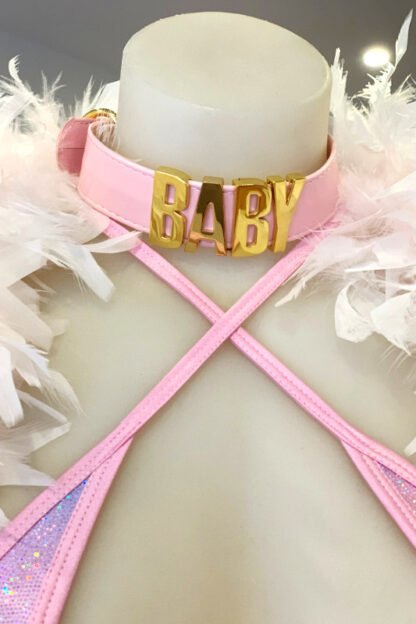 BABY Gold Letter Choker - Baby Pink Belt Front