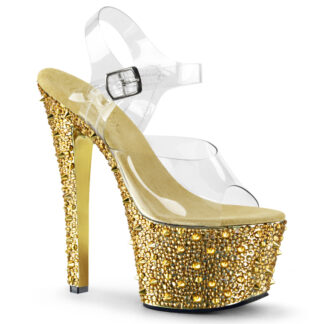 """Pleaser 7"""" Bejeweled 708SP Clear Top with Ankle Strap"""