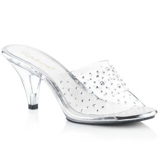 "Fubulicious 3"" Belle 301RS Slip On Rhinestone on Clear Top Shoes"