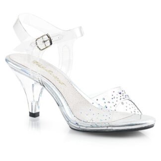 "Fubulicious 3"" Belle 308SD Sandal Rhinestone on Clear Top"