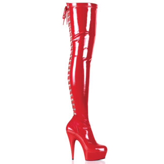 "Pleaser 6"" Delight 3063 Thigh High Boot Patent Red"