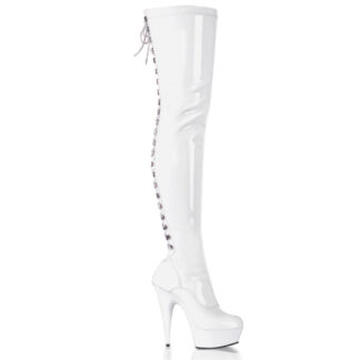 "Pleaser 6"" Delight 3063 Thigh High Boot Patent White"