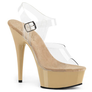 "Pleaser 6"" Delight 608 Sandal Cream Platform"