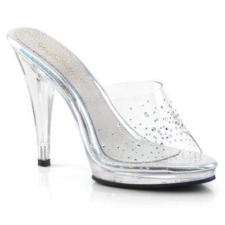 "Fabulicious 4"" Flair 401SD Slip On - Rhinestone on Clear Top Shoes"