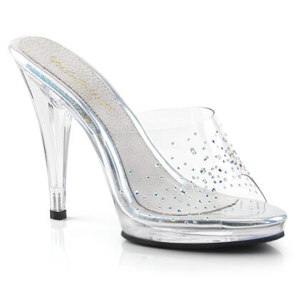 """Fabulicious 4"""" Flair 401SD Slip On - Rhinestone on Clear Top Shoes"""