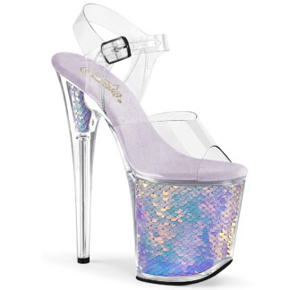 "Pleaser 8"" Flamingo 808 Clear Top with Ankle Strap Mermaid Scale Shoes"