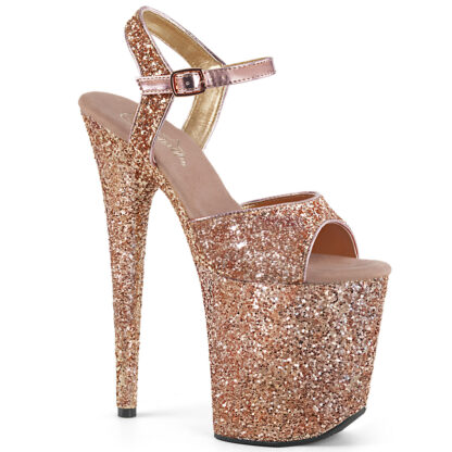 """Pleaser 8"""" Flamingo 810 Open Toe with Ankle Strap Glitter Rose Gold Shoes"""