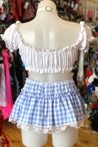 Gingham Check Skirt - Baby Blue Back
