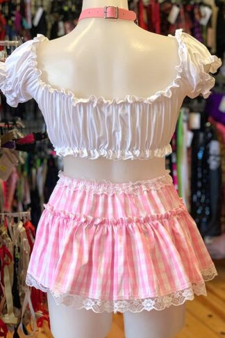 Gingham Check Skirt - Baby Pink Back