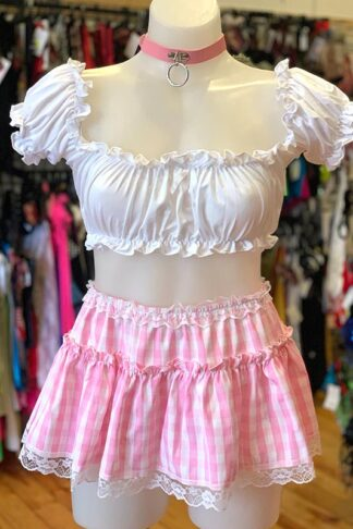Gingham Check Skirt - Baby Pink Front