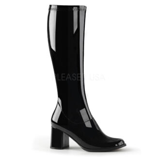 Funtasma 3″ Gogo Knee High Boots Patent White Front Angle