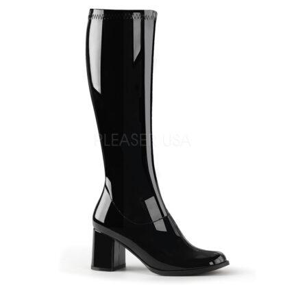 Funtasma 3″ Gogo Knee High Boots Patent White Front Angle